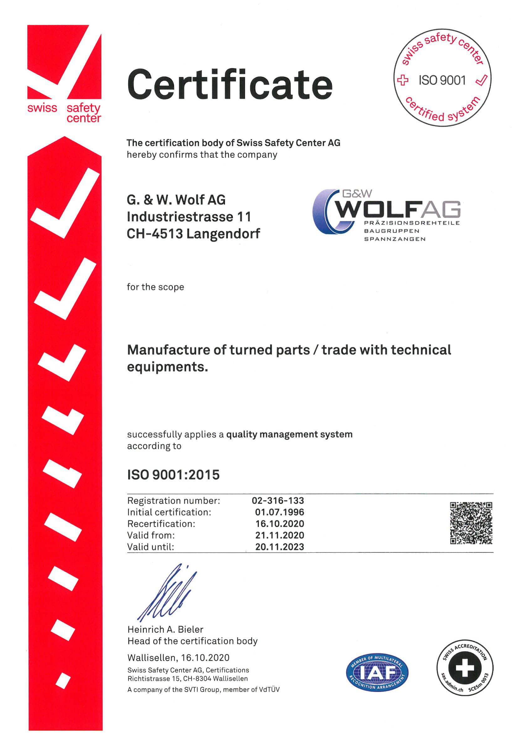 QMS-Zertifikat 2020